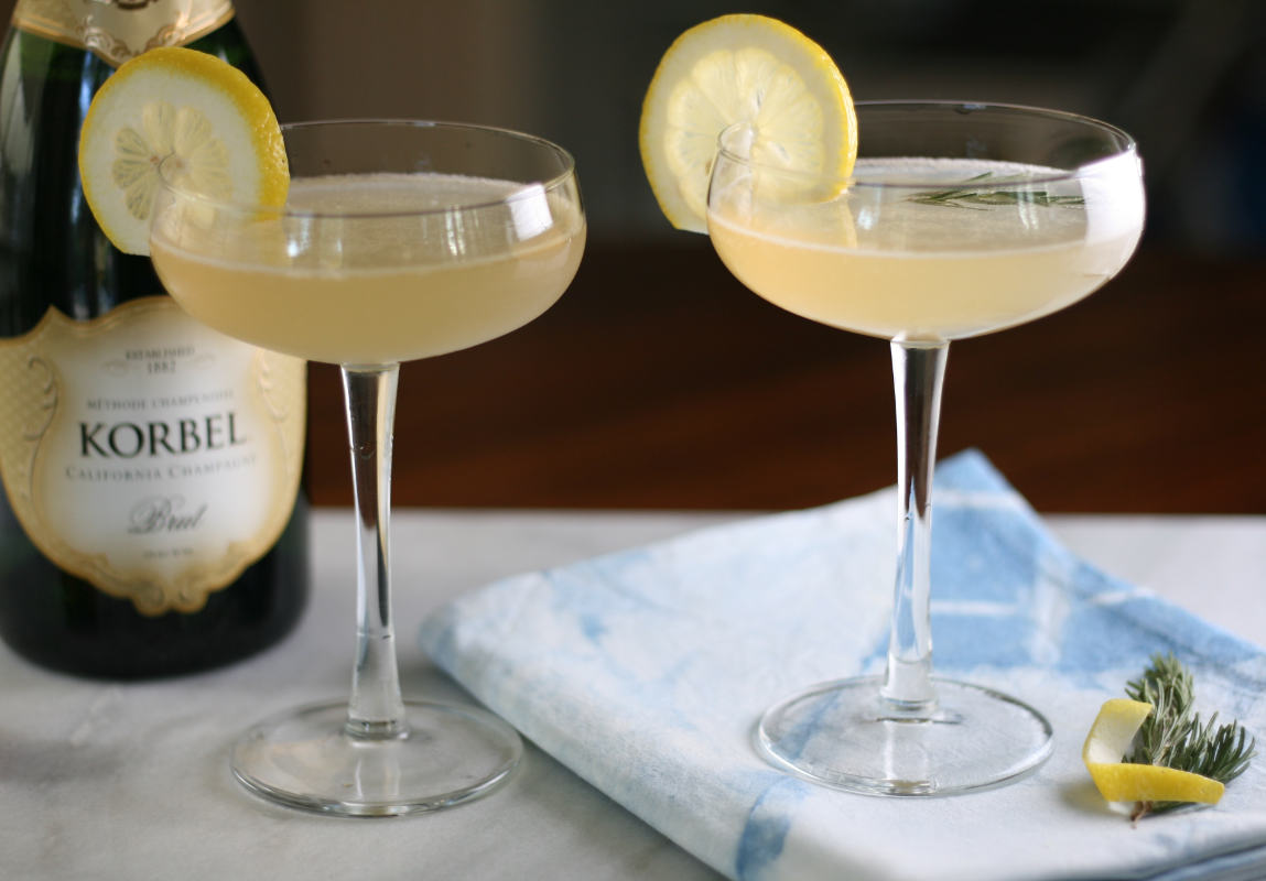 gin, elderflower & lemon juice - French 75 with a twist