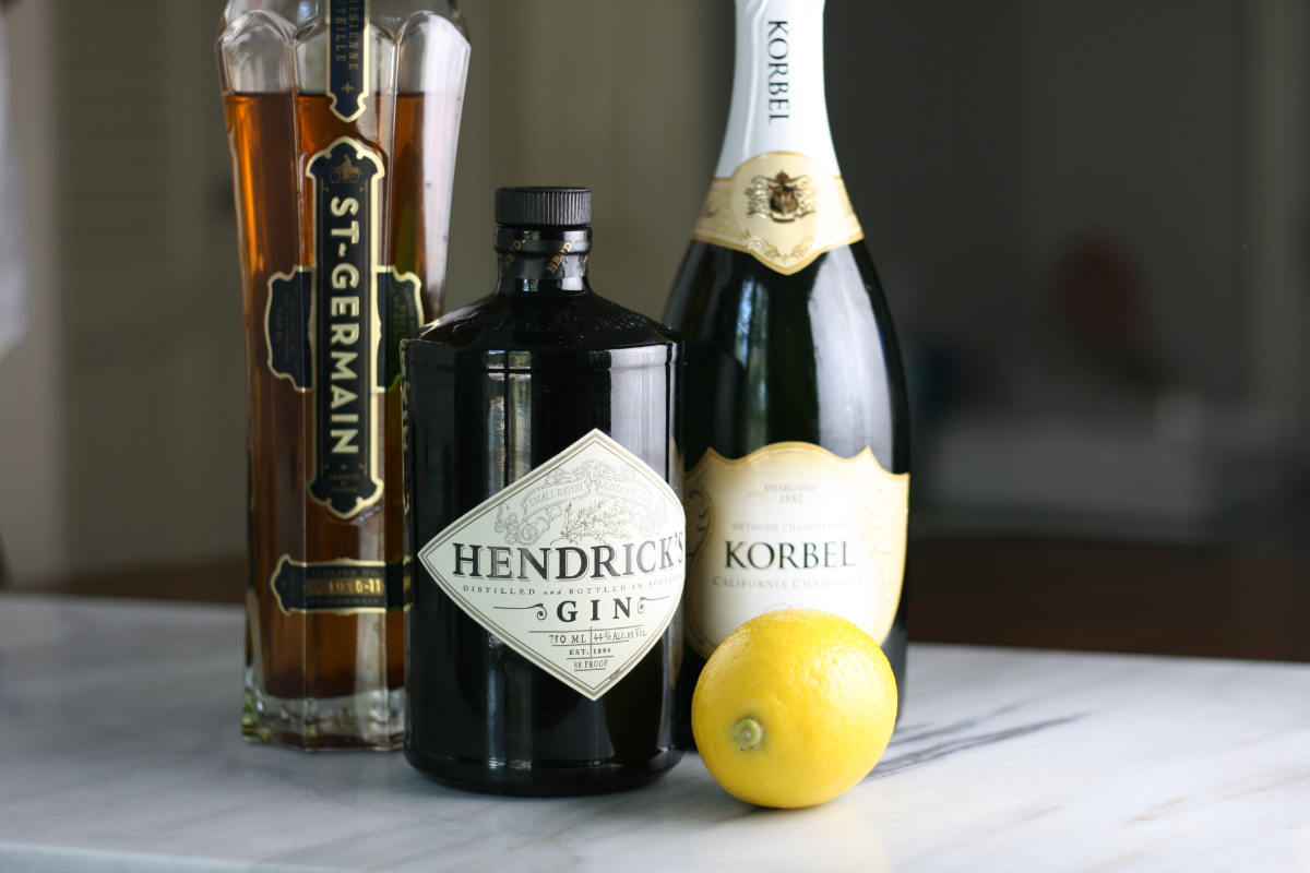 French 77 with a twist - Hendrick's Gin, St. Germain, Lemon Juice & Sparkling wine