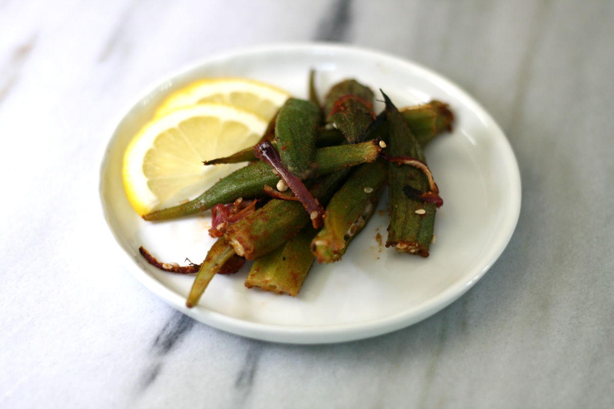 Roasted Okra with Indian spices
