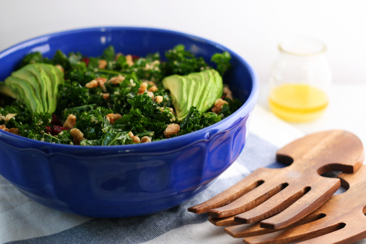 Fall Salad: Kale, Quinoa, Soaked Walnuts, Cranberries, Avocado in Lemon juice and olive oil dressing